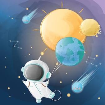 Pequeno astronauta voando com balões do planeta