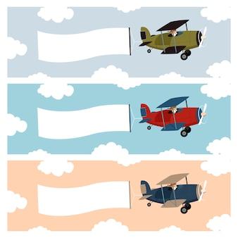Pequeno avião com uma bandeira de publicidade acenando
