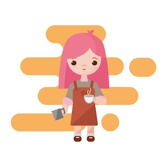 Pequeno barista adorável. garota barista com uma xícara de leite para café nas mãos. barista de menina isolada. ilustração.