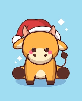 Pequeno boi com chapéu de papai noel feliz ano novo chinês 2021 cartão bonito vaca mascote personagem de desenho animado de corpo inteiro ilustração vetorial