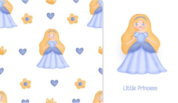 Pequeno cartão de princesa e padrão sem emenda