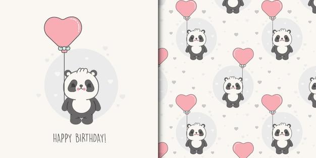 Pequeno cartão de urso de aniversário e padrão sem emenda para crianças premium