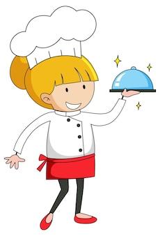 Pequeno chef servindo comida de personagem de desenho animado