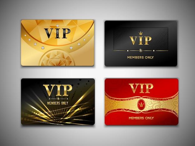 Pequeno conjunto de design de cartões vip