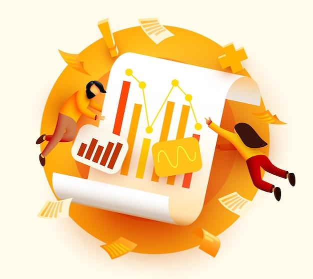Pequeno d voando e analisando o conceito de auditoria de negócios de dados de diagrama