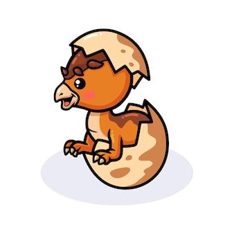 Pequeno desenho animado de dinossauro paquicefalossauro saindo de um ovo