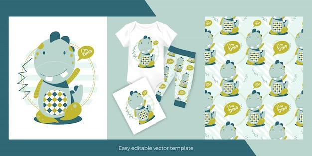Pequeno dinossauro fofo e design de padrão perfeito para crianças