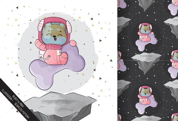 Pequeno e fofo astronauta corgi no espaço com o grande osso