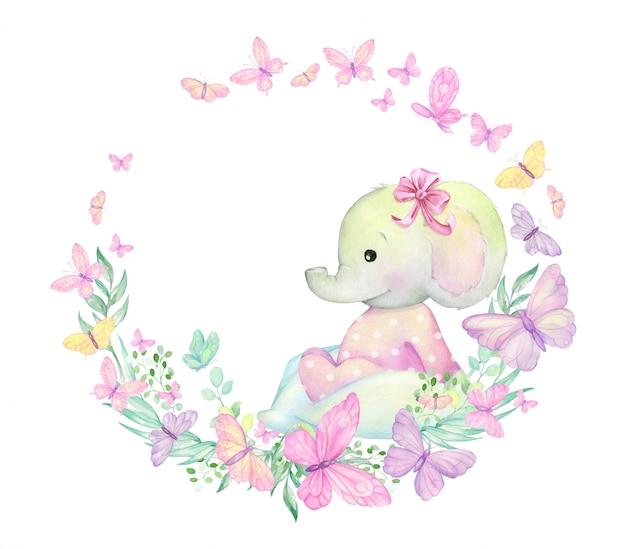 Pequeno elefante, cercado por borboletas, plantas, senta-se. ilustração em aquarela