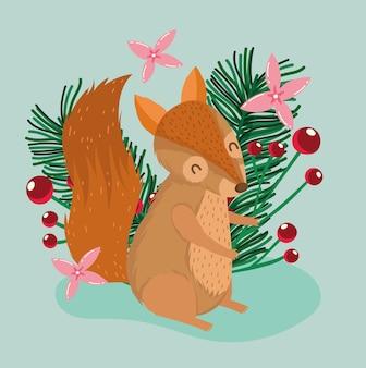 Pequeno esquilo de natal, azevinho, baga e flores, animal, desenho animado, cartão