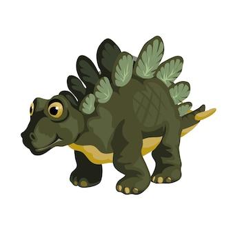 Pequeno estegossauro. imagem de dinossauro dos desenhos animados. personagem de dinossauros bonitos. apartamento isolado no fundo branco.