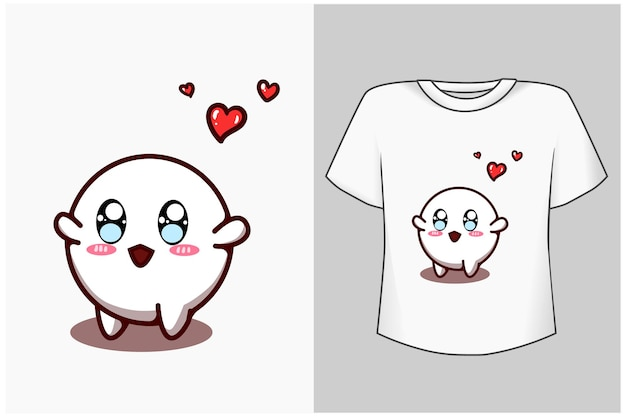Pequeno fantasma fofo com ilustração de desenho animado de amor