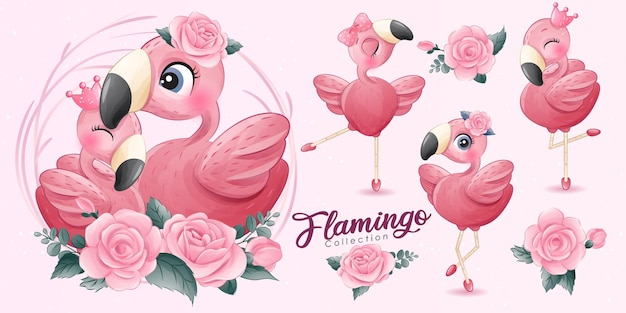 Pequeno flamingo fofo com coleção de bailarinas