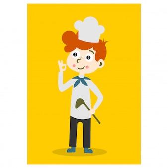 Pequeno garoto chef em fundo amarelo personagem de desenho animado