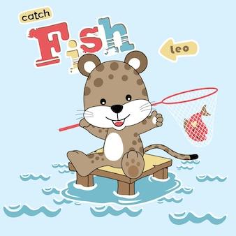 Pequeno gato com rede de peixe