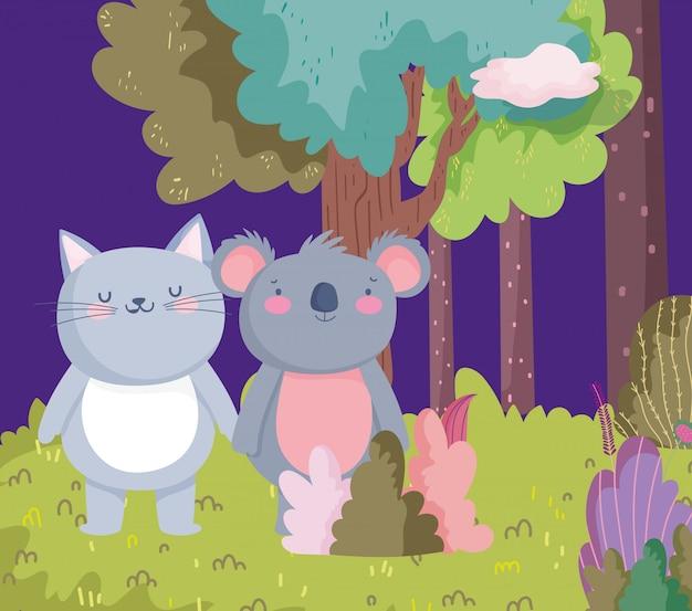 Pequeno gato e coala personagem de desenho animado natureza folhagem da floresta