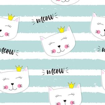 Pequeno gato fofo princesa sem costura de fundo