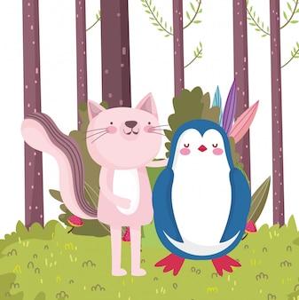 Pequeno gato rosa e pinguim personagem de desenho animado natureza folhagem da floresta