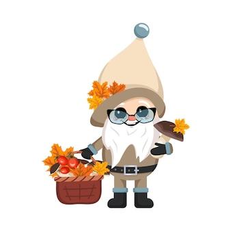 Pequeno gnomo com longa barba branca rosto alegre com cesta de cogumelos e folhas de plátano personagem ...