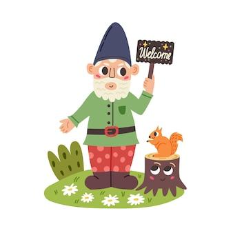 Pequeno gnomo com placa de boas-vindas. personagem de anão de conto de fadas do jardim. ilustração em vetor moderno em estilo cartoon plana