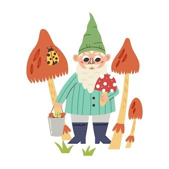 Pequeno gnomo segurando balde de cogumelos. personagem de anão de conto de fadas do jardim. ilustração em vetor moderno em estilo cartoon plana