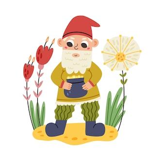 Pequeno gnomo tem pote de moedas. personagem de anão de conto de fadas do jardim. ilustração em vetor moderno em estilo cartoon plana