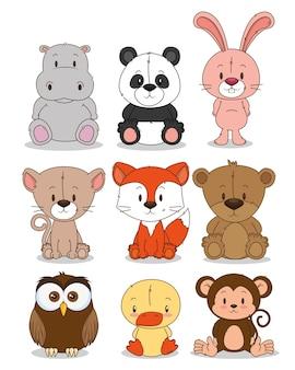 Pequeno grupo de animais fofos