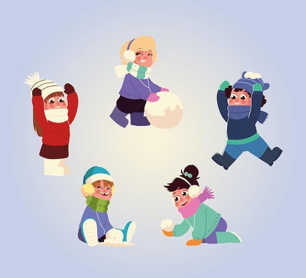 Pequeno grupo de crianças com roupas de inverno e ilustração de bolas de neve