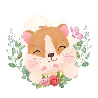 Pequeno hamster fofinho em aquarela