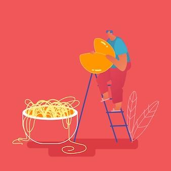 Pequeno homem abdominal em pé na escada segurando um enorme biscoito da sorte nas mãos perto da tigela com macarrão. comida chinesa, pessoas comendo o conceito de cozinha tradicional asiática. flat cartoon
