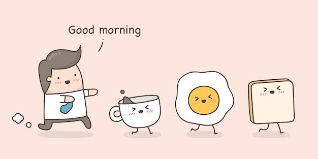 Pequeno homem seguindo seu café da manhã.
