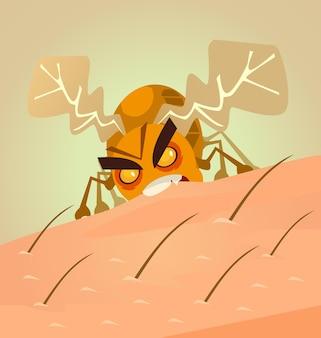 Pequeno inseto zangado mordendo a pele humana, ilustração plana dos desenhos animados