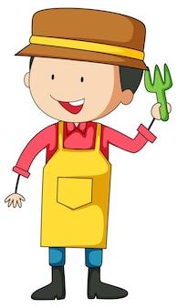 Pequeno jardineiro doodle personagem de desenho animado