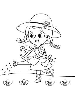 Pequeno jardineiro regando vegetais ilustração em vetor de uma página para colorir