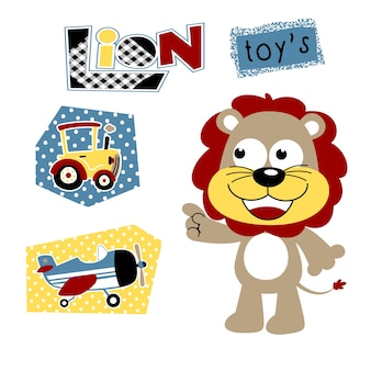 Pequeno leão com seus brinquedos