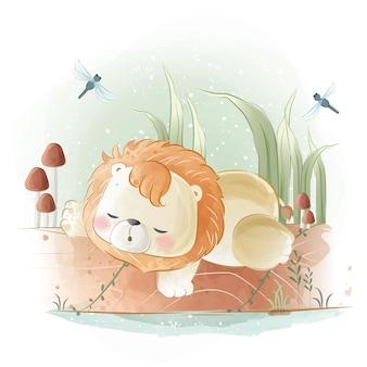 Pequeno leão safari dormindo em um tronco