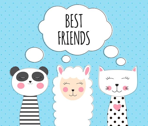 Pequeno lhama bonito, panda e gato para design de cartão e camisa. conceito de melhor amigo.