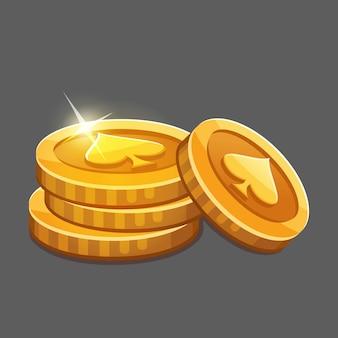 Pequeno monte de moedas de ouro