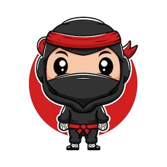 Pequeno ninja japonês bonito desenho animado