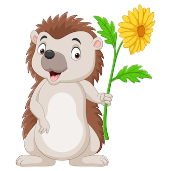 Pequeno ouriço de desenho animado segurando uma flor