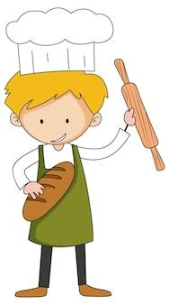 Pequeno padeiro segurando o personagem de desenho animado de panificação isolado