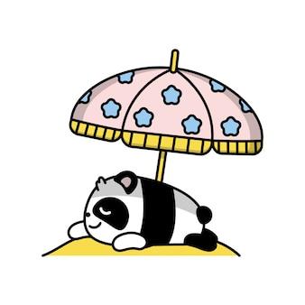 Pequeno panda bonito mentiras tomando sol ilustração