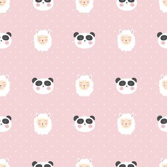 Pequeno panda bonito sem costura padrão para design de cartão e camisa.