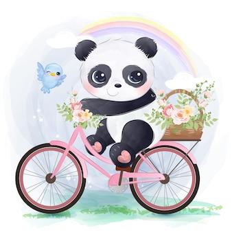 Pequeno panda fofo andando de bicicleta