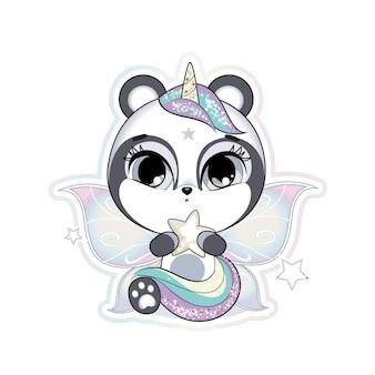 Pequeno panda fofo com asas de borboleta e chifre segurando uma estrela tons pastel e suaves