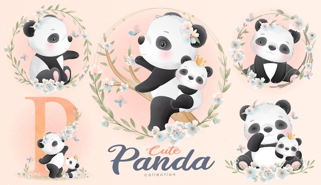 Pequeno panda fofo com conjunto de ilustração em aquarela
