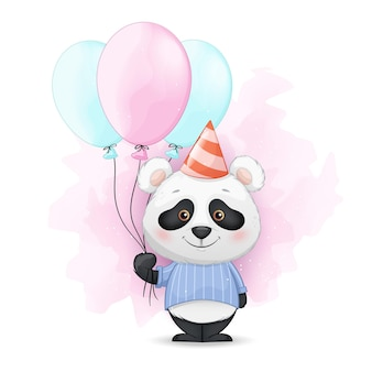 Pequeno panda fofo segurando balões