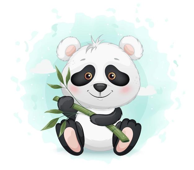 Pequeno panda fofo segurando bambu