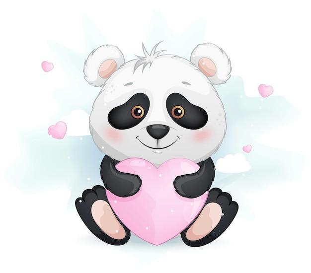 Pequeno panda fofo segurando um coração rosa Vetor Premium