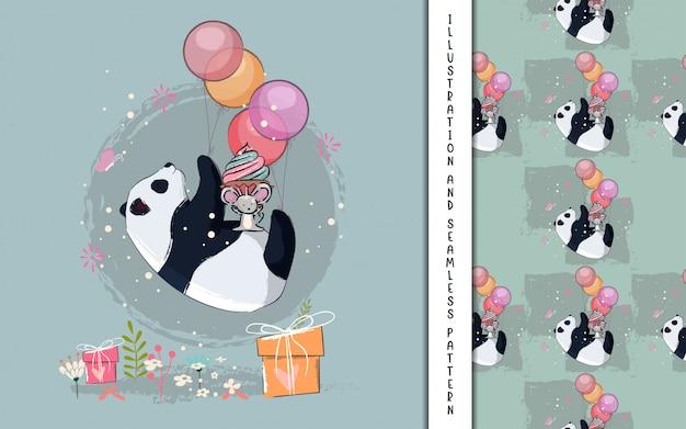 Pequeno panda voando com ilustração de balões para crianças